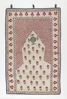 Cotton Prayer Mats with Silk Embroidery / Iran / c. 1800-1880 2