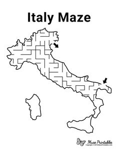 Have fun with this fun Italy maze! Day Camp Activities, Montessori Activities, Preschool Activities, Montessori Materials, Mazes For Kids Printable, Worksheets For Kids, Free Printable, Geography Lessons, Teaching Geography