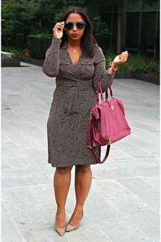 Slim and hide your waist with a stylish wrap dress. See more slimming tips here! #style #skinny