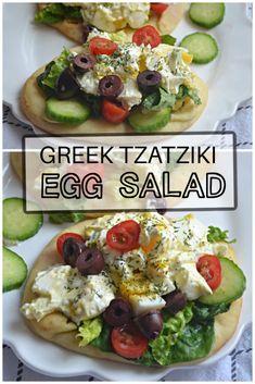 Greek Tzatziki Egg Salad – Make the Best of Everything Egg Salad Ingredients, Tzatziki Sauce, English Cucumber, Kalamata Olives, How To Cook Eggs, Lettuce Wraps, How To Make Salad, Naan