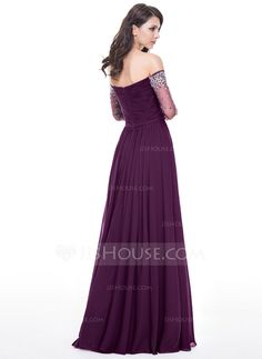 A-Line/Princess Off-the-Shoulder Floor-Length Chiffon Tulle Evening Dress With Ruffle Beading Sequins (017056122)