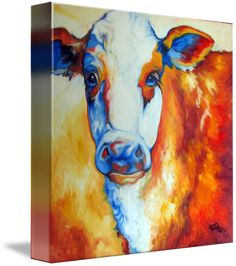"""""""MEMOO""""+by+Marcia+Baldwin,+Wesley+Chapel,+Florida+//+From+an+original+oil+painting+of+a+hereford+cow.+The+original+was+painted+on+gallery+wrap+canvas+by+M+Baldwin,+Fine+Artist.Gallery+List+$2850.Bold+color,+Bold+brush+work,+Great+texture+and+harmony.+//+Imagekind.com+--+Buy+stunning+fine+art+prints,+framed+prints+and+canvas+prints+directly+from+independent+working+artists+and+photographers."""