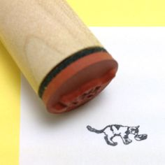 Cat Drinking Milk Rubber Stamp by RADstamps on Etsy, $3.75