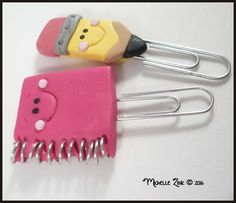 Mini Notebook Pencil Planner Clip Set by michellesclaybeads