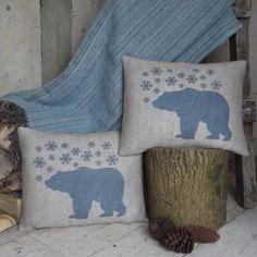 ' Polar Bear and Snowflake ' Cushion