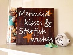 Beach/Mermaid Sign, Kisses, Stained and Hand Painted, Customizable, summer, birthday, vacation, home decor, beach, mermaids, starfish on Etsy, $29.00