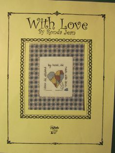 """VINTAGE """"WITH LOVE"""" BY RONDA JEAN CROSS STITCH CHART"""
