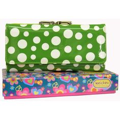 Green patent polka dot purse £10.95 plus postage
