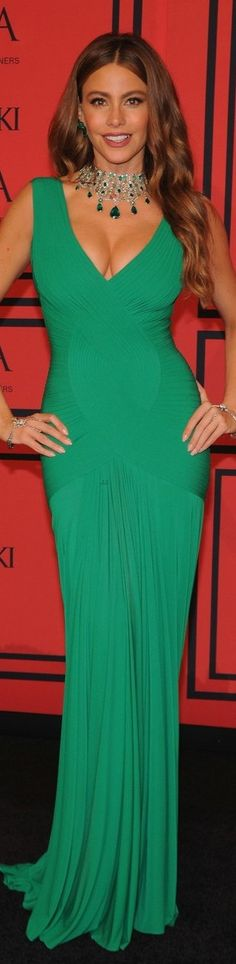 Sofia Vergara 2013 CFDA Awards. I think perhaps her hair should have been in a different style to set off that amazing necklace but otherwise a stunning look!