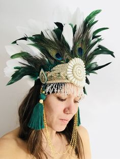 Peacock Queen Headdress — Feathers and Thread Feather Crown, Feather Headpiece, Feather Earrings, Carnival Headdress, Carnival Fashion, Peacock Dress, Hair Ornaments, Showgirls, Headgear