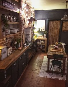 The Bohemian, Dark & Inviting Home of Nadia Martini - The Interior Editor - Boho/Rustic/ Chic/House/Kitchen ideas Home Decor Kitchen, Interior Design Kitchen, Home Kitchens, Cosy Kitchen, Dark Kitchens, Kitchen Ideas, Dark Home Decor, Industrial Kitchen Design, Rustic Home Design