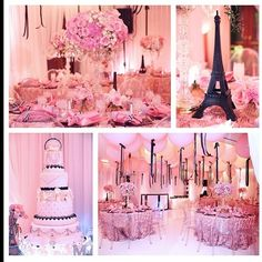 Wedding inspiration! Pink Parisian birthday party or bridal shower