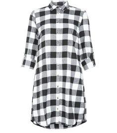 Blue and black checkered shirt dress