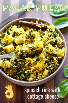 Palak pulao with paneer is an easy, light and fresh pulao recipe that's bursting with the goodness of spinach and Indian cottage cheese. Pair it with a raita (yogurt dip) and salad for a simple and fuss-free meal. Indian Paneer Recipes, Indian Food Recipes, Vegetarian Recipes, Cooking Recipes, Healthy Recipes, Cumin Rice Recipe, Rice Dishes, Tasty Dishes, Kitchens