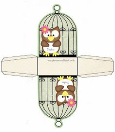 Owl Box in Cage for Free Print. Diy Gift Box, Diy Gifts, Diy Paper, Paper Crafts, Diy And Crafts, Crafts For Kids, Owl Box, Paper Box Template, Box Templates