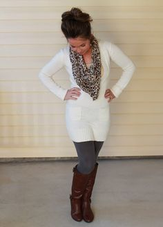 Fall fashion scarf sweater dress leggings and boots! Love this whole outfit