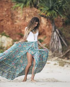 """@mimielashiry floating in our latest shoot """"Boheme"""" in the Spell Folk Town Maxi Skirt & Bamba Castaway backless bodysuit! $90  Shop this complete look from us now xx #newarrivals #turquoiselaneshoot #spelldesigns"""