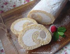 Az áfonya mámora: Gesztenyehabos rolád Dairy, Healthy Recipes, Bread, Cheese, Cookies, Baking, Drinks, Mascarpone, Crack Crackers