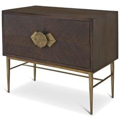 Darwin Global Bazaar Dark Wood Brass Storage 2 Drawer Chest Dresser. #kathykuohome