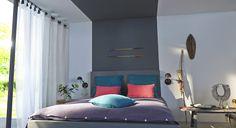 Une bande de peinture grise donne l'illusion d'une tête de lit infinie. Pour mettre en valeur la déco ethnique, les murs sont peints en blanc. http://www.castorama.fr/store/pages/zoom-sur-peinture-grise-gris-voyage.html