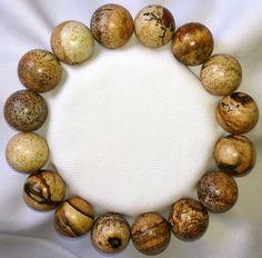 Bilderjaspis Heilstein Perlen Armband 12mm