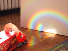 Pink Stripey Socks: Make Rainbows using CDs, Awesome science for kids!