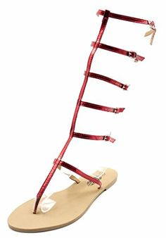 7567f0a6ce5a3c Charles Albert Red Metallic Women s Tall Strappy Gladiator Sandal      Remarkable product available now.