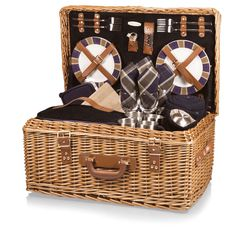 <li>Picnicking is an elegant affair with a traditional English-style picnic basket</li> <li>Windsor is a suitcase-style willow basket with genuine leather straps</li> <li>Serveware cushioned by a plush, navy blue corduroy interior</li>
