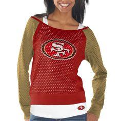 San Francisco 49ers Womens Holey Long Sleeve T-Shirt and Tank Top – Scarlet/Gold