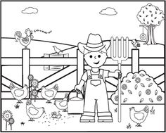 farmer coloring sheet coloring pages farm animals on old - Farm Coloring Pages