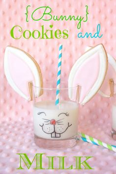 Munchkin Munchies: {Bunny} Cookies and Milk. Drink your milk, dip your bunny ears in the milk, nibble (as bunnies do) and ENJOY!   Make some of these cookies for your favorite munchkins to let them know that somebunny loves them:)