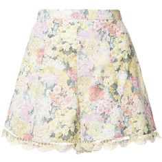 Zimmermann White Multicolor Scallop Edge Floral Shorts ($175) ❤ liked on Polyvore featuring shorts, bottoms, skirts, white scalloped shorts, flower print shorts, white floral shorts, scallop hem shorts and multi colored shorts