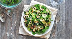 Grilled Zucchini Kale Salad: We made this salad last night and it was so yummy! Adapted just a little to the nuts and cheese I had on hand. Want to make again!