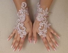 Pink Bridal Glove,pink lace gloves, Fingerless Glove,