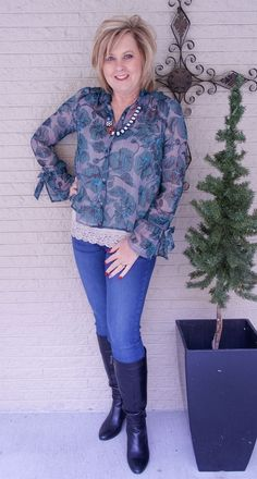 50 IS NOT OLD | HOW TO ADD A TOUCH OF METALLIC | Silver Threads | Floral | Sheer | Fashion over 40 for the everyday woman