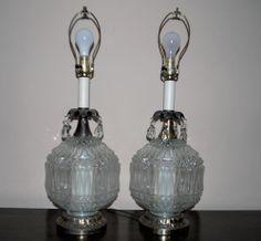 2 Vtg Hollywood Regency Table Lamps Diamond Point Light Up Globe Teardrop Prisms #Regency