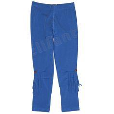 Carbone bequeme Leggings Fransen Blau