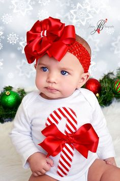 Adorable Christmas Candy Cane Onesie Bloomers and Bow