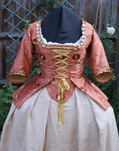 18th Century Marie Antoinette Embroidered Faux Silk Caraco Jacket Custom Period…