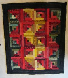 Gold, Red and Green shaded log cabin pattern. All made with hand dyed wool fabric on cotton monks cloth. This design warms up any room. This rug
