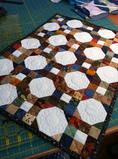"Snowball blocks and nine patch blocks all from my scrap pile! 15""x21"""