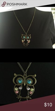 """Burnished Bronze Owl Gem Necklace Beautiful burnished bronze owl necklace with colorful gem accents. Measures 22"""" in total length. NWT. Bundle decide on with any other in my shop and get a 10% discount. Aura Jewelry Necklaces"""