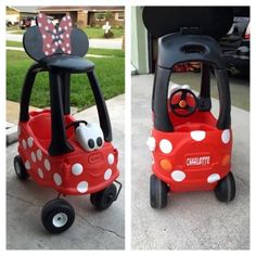 Turn a kids car into an adorable Minnie Mouse Car. What you will need: Kids car, Rust-Oleum Ultra Cover 2x Primer, (gloss or matte) Red and Black. As well as Clear to use as a top coat. (find out more about all of these products here: http://www.rustoleum.com/product-catalog/consumer-brands/painters-touch-ultra-cover-2x ) Ears can be made from wood or purchased and vinyl white dots!  So cute, affordable and easy, the kids will love it!