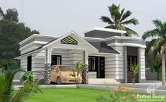Are you looking for a simple but classy house? Discover the features and advantages of this single floor bungalow house design to stand in 74 m² floor area. Single Floor House Design, House Front Design, Small House Design, Roof Design, Cool House Designs, Modern House Design, Modern Bungalow House, Bungalow House Plans, New House Plans