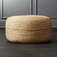 braided jute large pouf