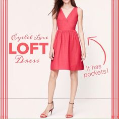"""NWT LOFT Cotton Eyelet Pocket Dress Done in birdseye cotton eyelet with convenient side pockets, we're totally sweet on this can't resist confection.  Crossover neck.  Sleeveless.  Stirred beneath waist seam. Side pockets. V-backed.  Lined. 20 1/4"""" from natural seam. LOFT Dresses"""
