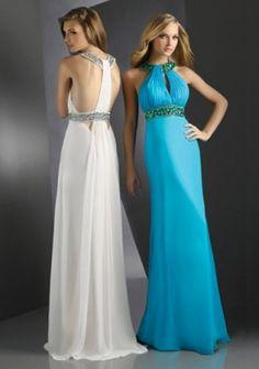 Sheath / Column Halter Floor-length Chiffon Prom Dress