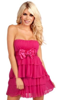 Strapless Tiered Ruffled Sweetheart Neckline Sleeveless Cocktail Mini Dress