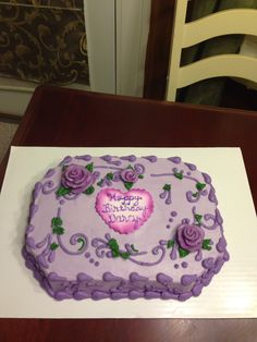 Purple sheet cake roses pretty unique