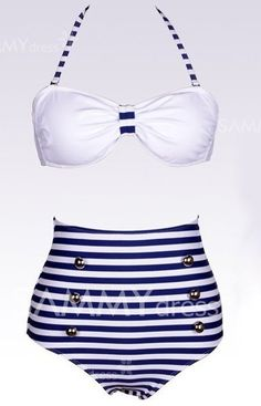High Waisted Vintage Halterneck Cross Stripe Six Buttons Swimsuit For Women
